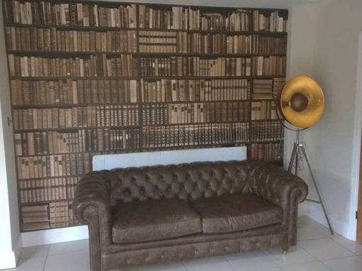 Bookcase Wall Papering Job